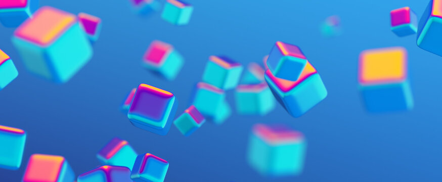 Abstract 3d render, geometric background design with colorful cubes