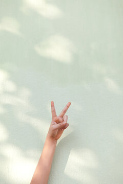 hand showing, pointing up 2 fingers, victory hand gesture