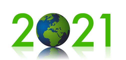 Carte de voeux sur le thème de la protection de l'environnement et de la lutte contre le réchauffement climatique, montrant un globe terrestre à la place du zéro de 2021.
