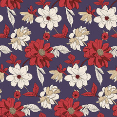 Floral illustration: burgundy, red, beige flowers, leaves and buds on a dark purple background. Seamless pattern for textile, decor, fabric, greeting cards, paper, etc.