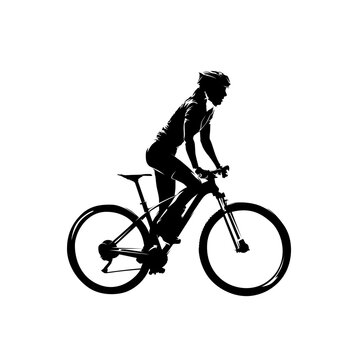 Mtb rider, woman on her mountain bike, side view isolated vector silhouette