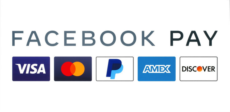 Kiev, Ukraine - August 25, 2020: Facebook Pay works with multinational financial services