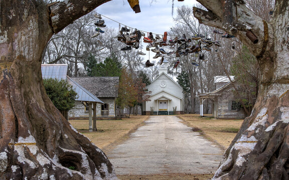 MILLBROOK, ALABAMA, UNITED STATES - Apr 27, 2018: Spectre ghost town from Big Fish film