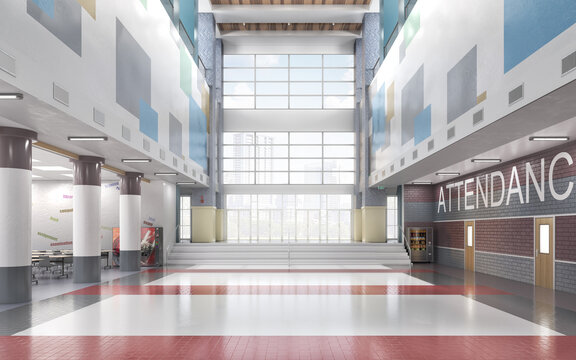 School entrance with high ceiling lobby. 3d illustration