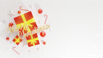 Merry Christmas wishes with blank space for text, Xmas banner, top view on white background. Gift boxes, christmas ball, stick and stars decoration. Horizontal poster, text in English.