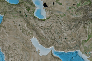 Iran outlined. Satellite