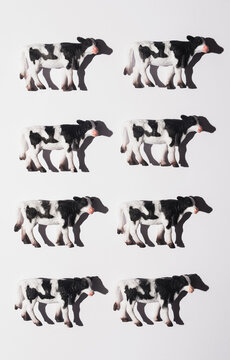 Miniature of cows on white background.