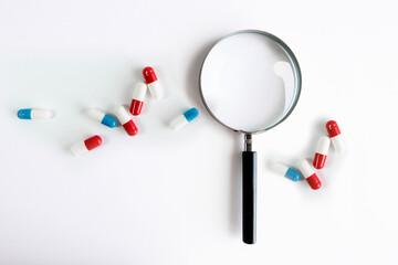lente, osservare, analisi, scienza, farmaceutica