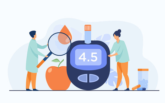 Doctors testing blood for sugar and glucose, using magnifying glass and glucometer for hypoglycemia or diabetes diagnosis. Vector illustration for awareness day, medicine, health care concept