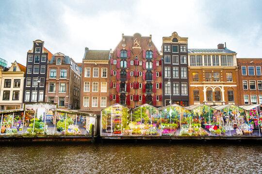 Bloemenmarkt , Flowers floating market in Amsterdam , Netherlands