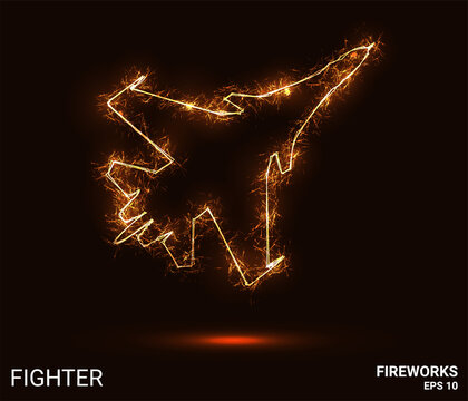 Fighter fireworks. The fighter consists of sparks and fire. Festive bright fireworks. Decorative element for celebrations and holidays. Vector illustration.