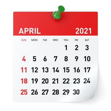 April 2021 - Calendar
