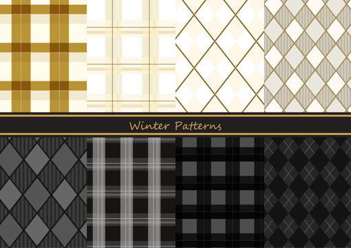 冬イメージの白&黒のチェック柄シームレスパターン