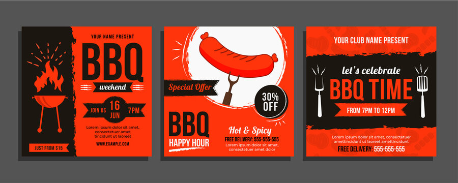 Set of Bbq Social Media Post, Bbarbecue Food Template, vector