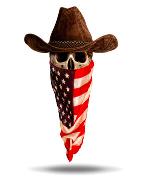 skull in wide-brimmed cowboy hat and bandana from the Stars and Stripes USA