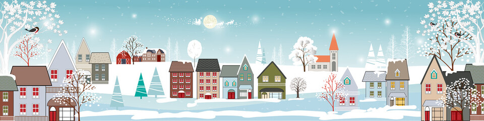 Winter landscape in village with cute cartoon of fairies house, Christmas night in small town in winter,Vector illustration banner for Merry Christmas and New year background