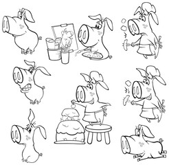 Illustration of a Cute Cartoon Character Pig for you Design and Computer Game. Coloring Book Outline Set