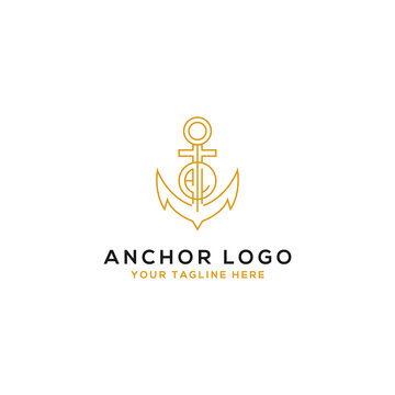 Logo Design AL anchor artistic alphabet logo icons that are elegant, trendy. - Vector