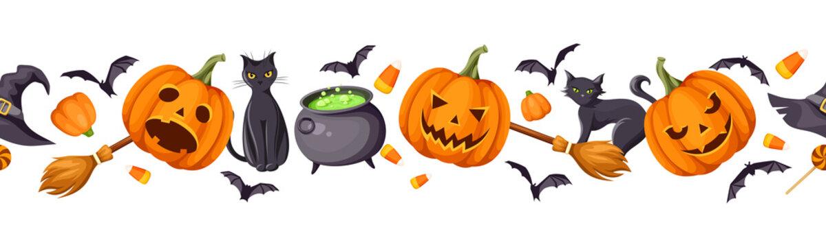 Vector Halloween horizontal seamless border with jack-o-lanterns (pumpkins), cats, bats, cauldron, hat, brooms and candy corns.