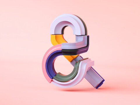 Ampersand made of plastic pieces