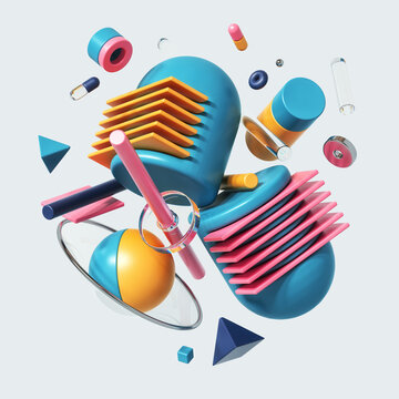 Colorful group of abstract shapes