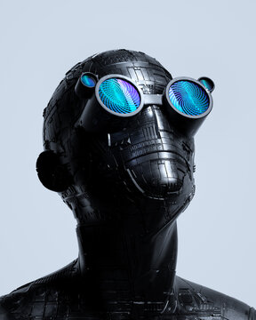 Portrait of silver robot wearing illuminated headset