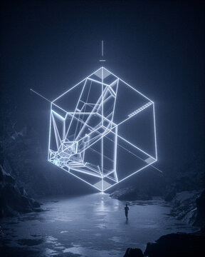 Abstract neon cube projected on to landscape