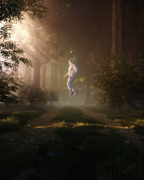 Astronaut floating in forest