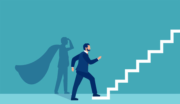 Vector of a super hero businessman stepping up on stairs climbing to success