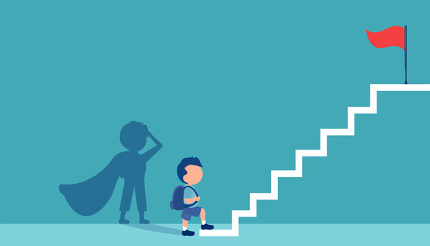 Vector of a boy with a super hero shadow climbing up stairs to reach his goal on the top