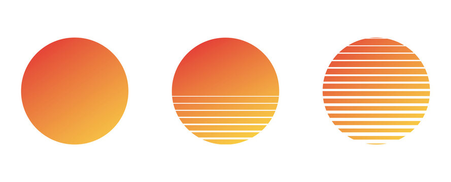 sun set of vector planets isolated on white background.Flat design. Summer vector illustration. 1980s vintage music