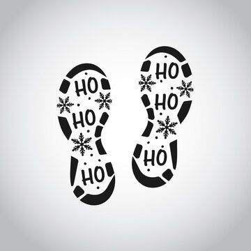 Isolated Santa footprint on white background