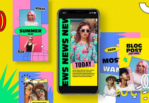 90s Style Social Media Stories