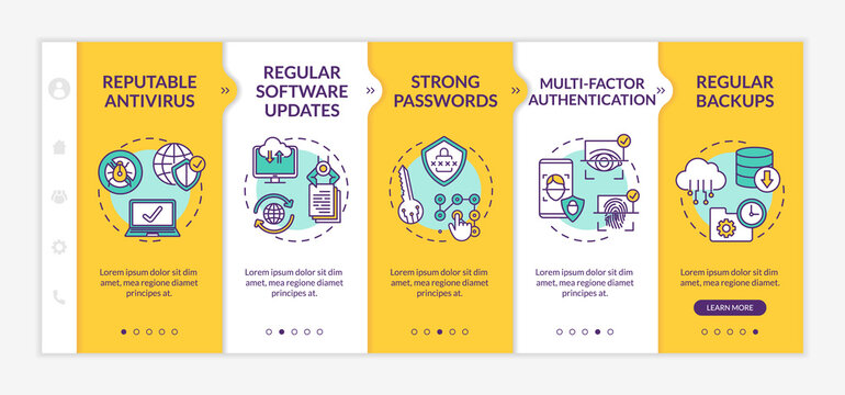 Security management onboarding vector template. Antivirus, software updates, strong passwords, backups. Responsive mobile website with icons. Webpage walkthrough step screens. RGB color concept