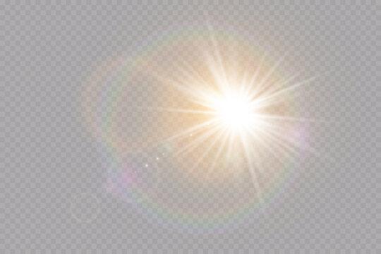 Vector transparent sunlight special lens flare light effect. Explosion sun.Glow light effect. Vector illustration.