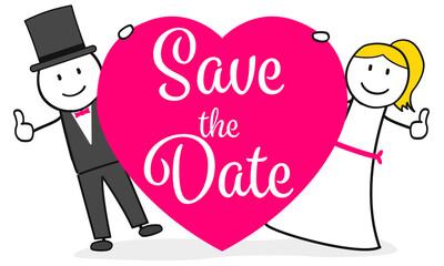 Hochzeitspaar mit Herz und Safe the Date Karte
