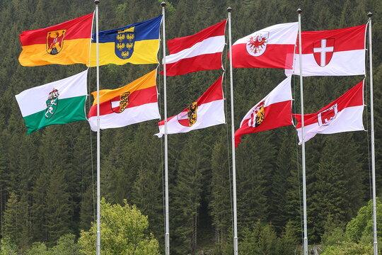 Fahnenparade, Bundesländer, Europa, Österreich.