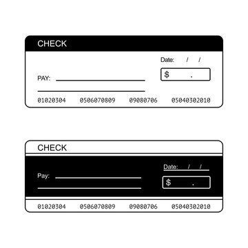 Blank check for personal or bank cheque in vector