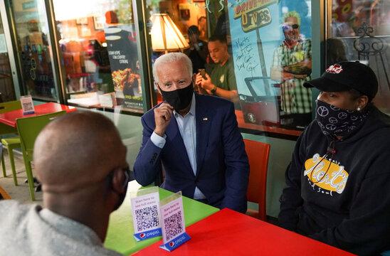 U.S. Democratic presidential nominee Joe Biden campaigns at restaurant in Charlotte, North Carolina