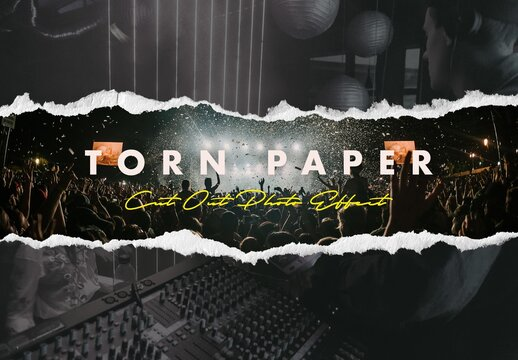 Torn Paper Cut Out Effect Mockup