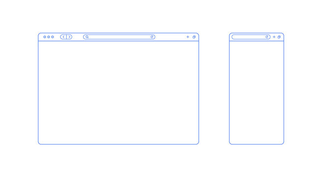 Browser template outline with blank place for website and mobile app. Internet page concept for desktop and smartphone. Minimalistic browser ui window in line style. Abstract vector mockup.