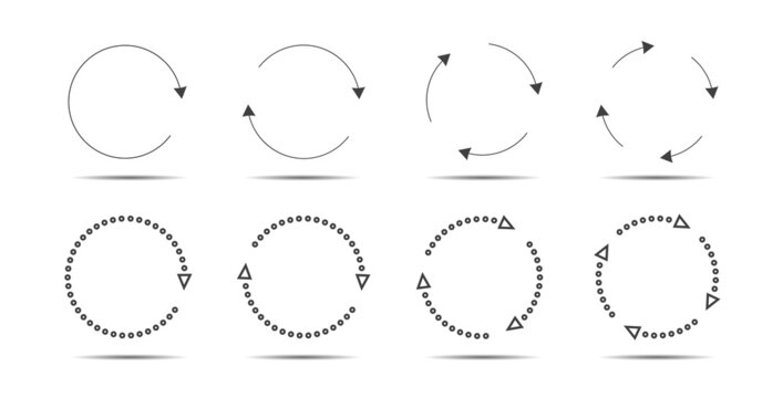 Set of grey circle arrows. Vector Icons. Graphic for website.