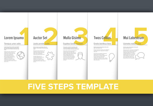 5 Simple Yellow Steps Process Infographic