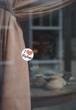 I love vintage sticker on shop window