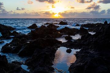 Sunset over Ponta da Ferraria, Azores