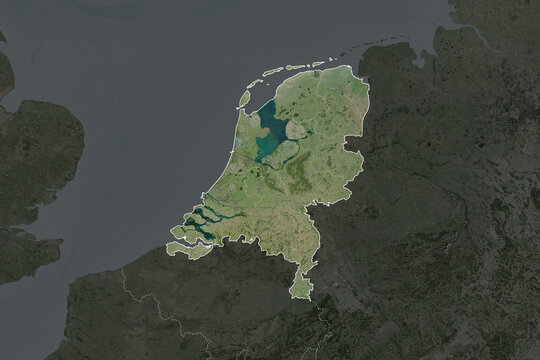 Netherlands borders. Neighbourhood desaturated. Satellite