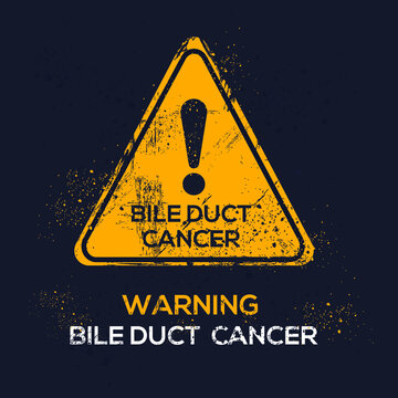 Warning sign (Bile duct cancer), vector illustration.