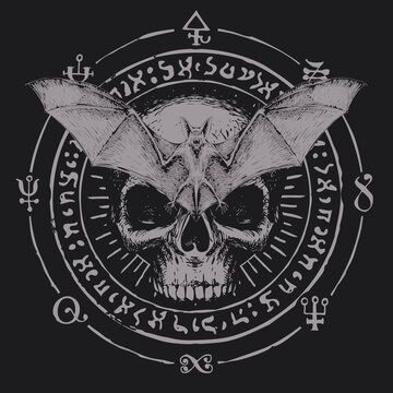 Hand-drawn scary bat with open wings and human skull on a background of magic symbols written in a circle. Witchcraft, occult attributes, alchemical signs. Vector banner with flying vampire