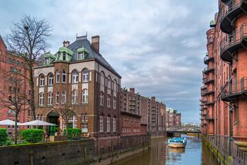Hamburg city warehouse district. Travel and architecture