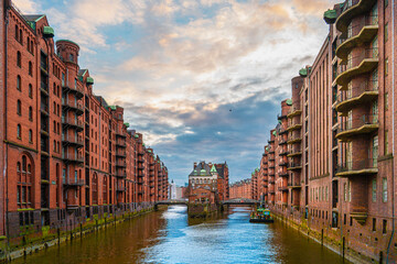 Hamburg city warehouse district. Travel and architecture.